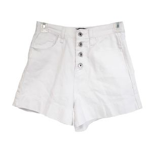 UK Missguided high waisted white denim jean shorts